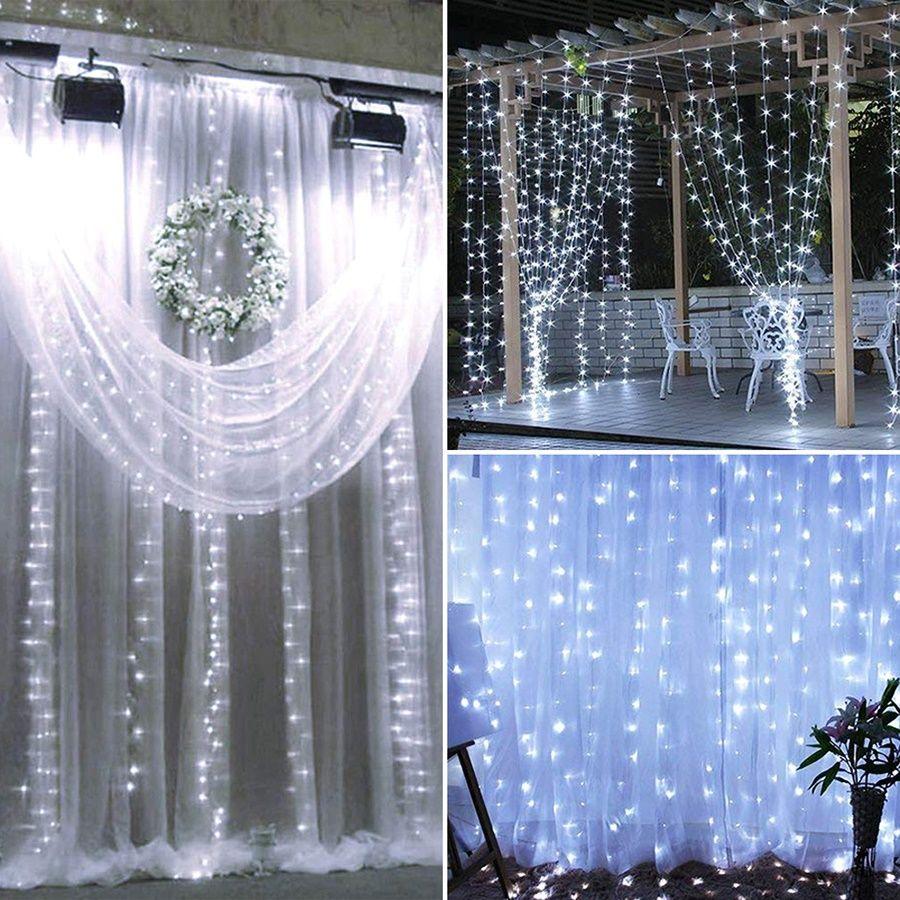 LED Solar Powered White String Light Xmas Garden Decor Flashing Christmas Wedding outdoor decoration Curtain String Light fairy lights