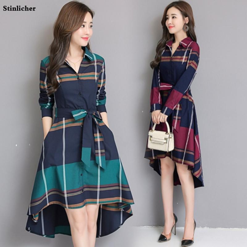Stinlicher grade listra Senhora elegante do escritório Mulheres manga comprida túnica Bandage Midi Vestido Plus Size Outono Inverno
