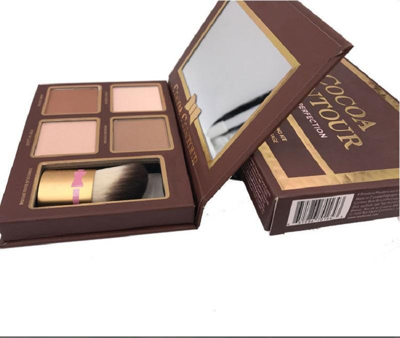 New COCOA Contour Kit Highlighters Palette Nude Color Cosmetics Face Concealer Makeup Chocolate Eyeshadow with Contour Buki Brush in stock
