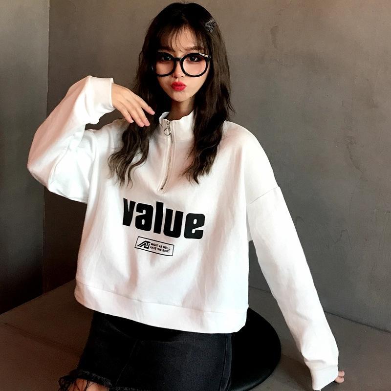 ZCabI 2020 court printemps et en automne mince tendance lâche style coréen bf style paresseux pull-over Top femmes haut étudiant chandail à manches longues