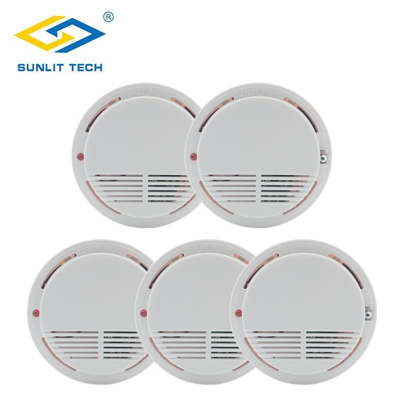 5pcs / lot sans fil détecteur de fumée protection contre les incendies 433MHz haute fumée sensible Alarme capteur Wifi pour Home Office Système de sécurité