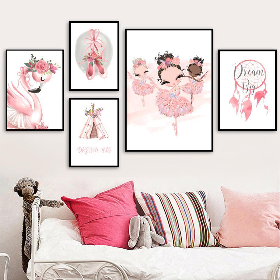 Balletto Girl Flamingo Fiore Corona tenda scuola materna di arte della parete della tela di canapa pittura nordica Poster e stampe Foto da parete per bambini Room Decor