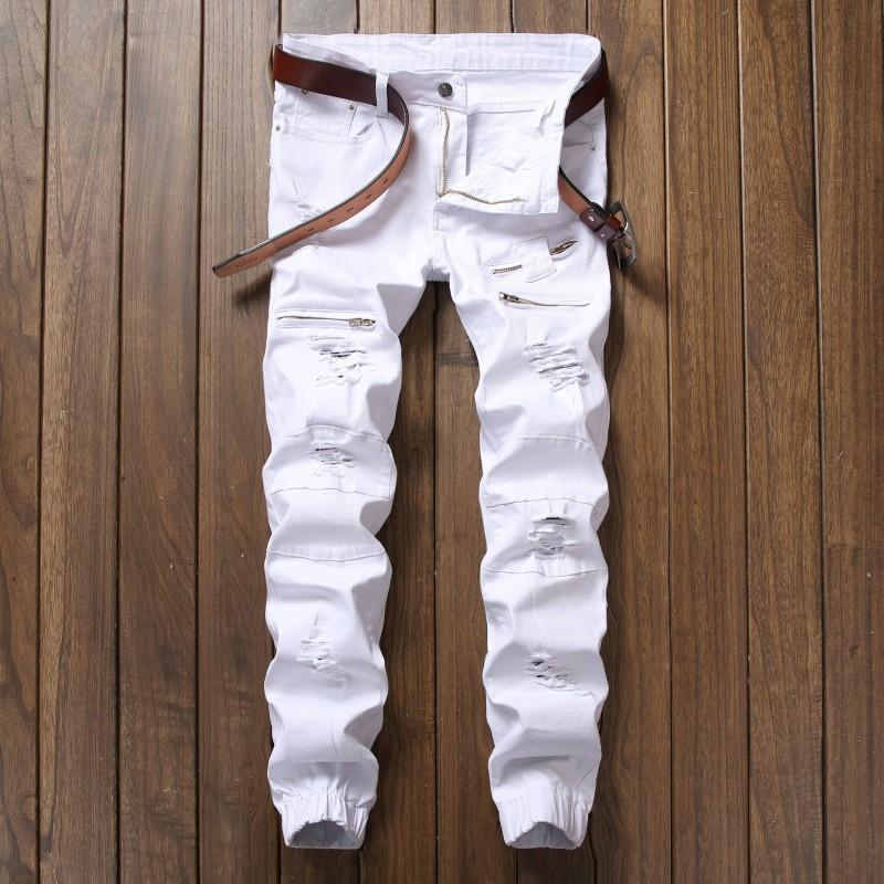 Men's Jeans Slim Feet Elastic Holes Pants Men Casual Male Solid Cotton Straight Full Length For