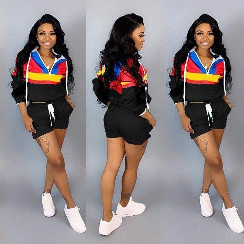 Insieme a due pezzi della tuta Donne 2020 di autunno della molla allentata femminile stile striped vestiti insieme delle 2 parti con cappuccio Sport Suit Casual Chic AqWB #