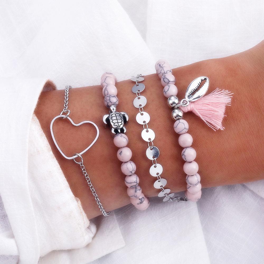 Gioielli Bohemian tartaruga fascino braccialetti dei braccialetti per le donne rosa Perline pietra naturale bracciali Shell nappa braccialetto del cuore di modo