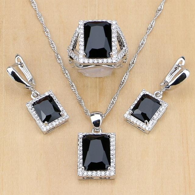 & Accessories Women 925 Sterling Silver Jewelry Black CZ White Birthstones Jewelry Set Wedding Earrings/Pendant/Necklace/Ring Dropshipping