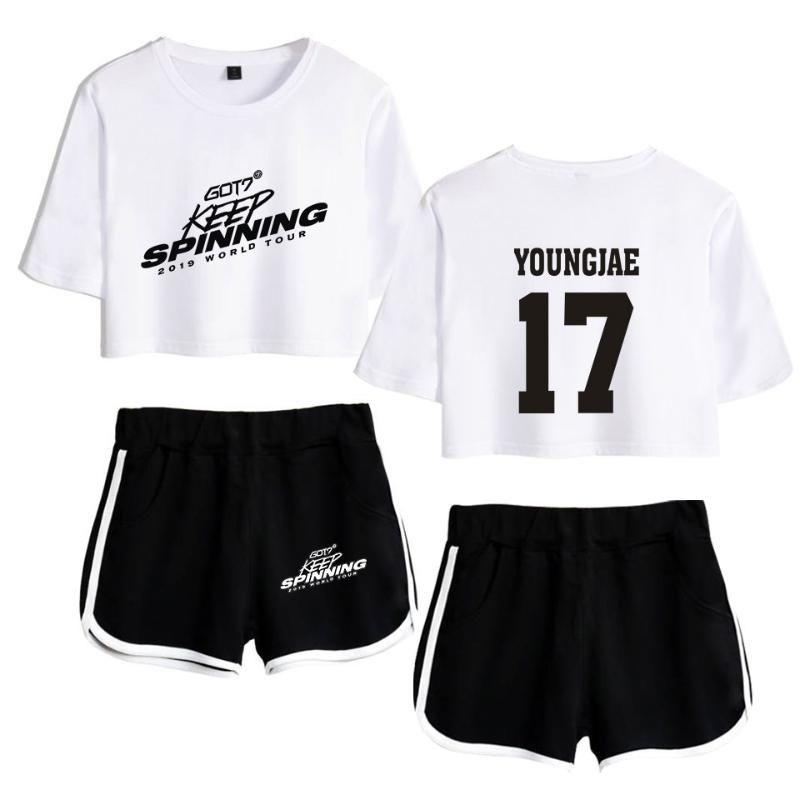 Got7 Imprimer Sexy Girls Tempérament numérique à manches courtes T-shirt de dames Bouton ventre T-shirt + Short bicolore mixte Set Vêtements