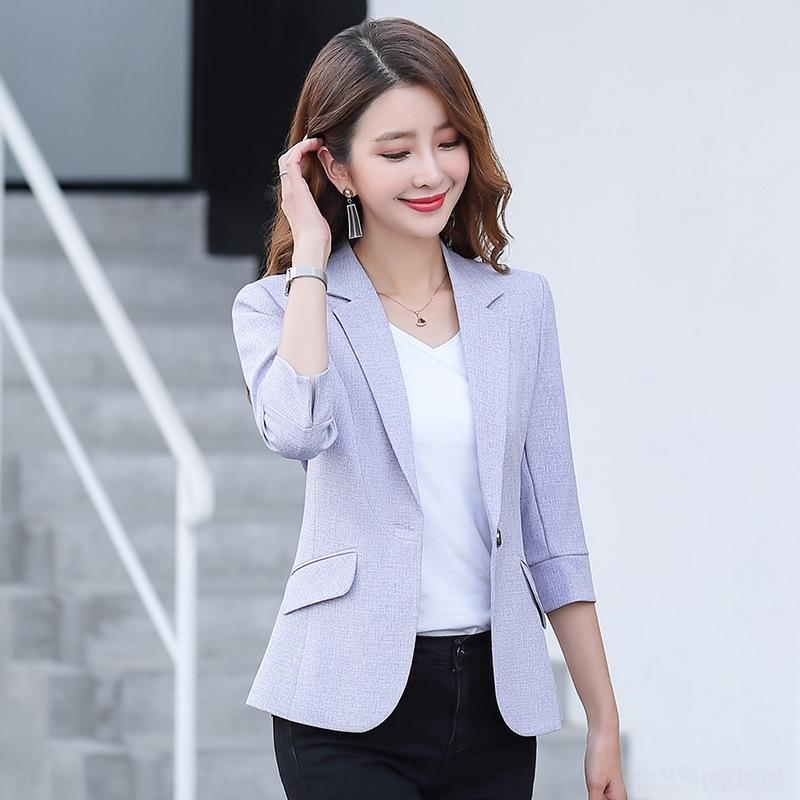 sQyr5 New autumn jacket small casual suit 2020 mid-sleeve jacket slim fit suit Korean style solid color ladies