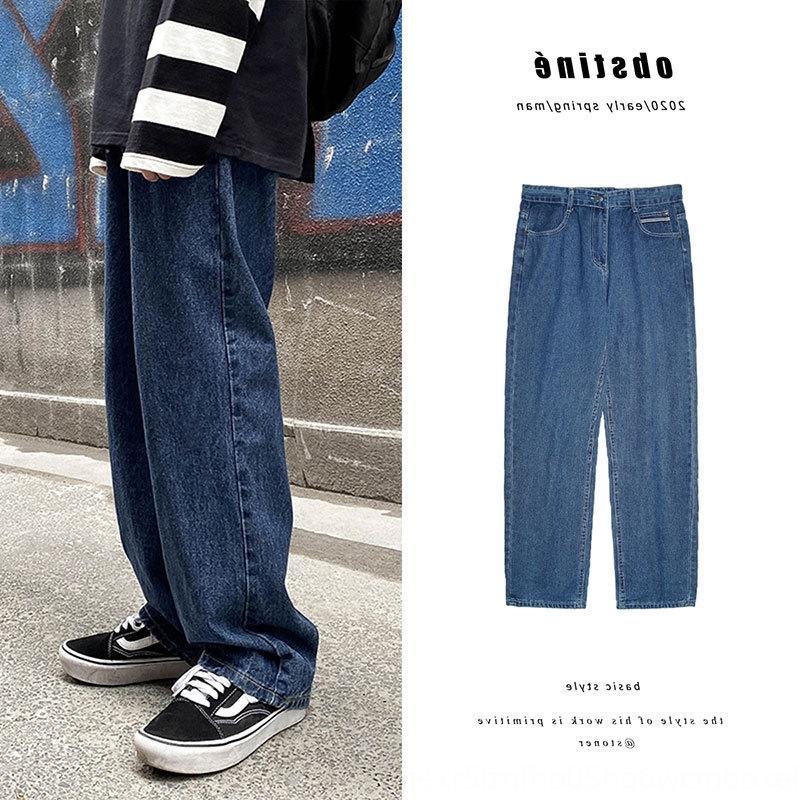 upsNO Geniş bacaklı erkek düz gevşek ve kot Paspas Jeans ins pantolon dikey duygu paspas baba pantolon tüm maç modaya