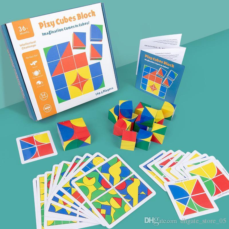 Дети интеллектуальные ранние преподавание головоломки кубик пространство мышления блок игра кубика карта строительный блок детская игрушка
