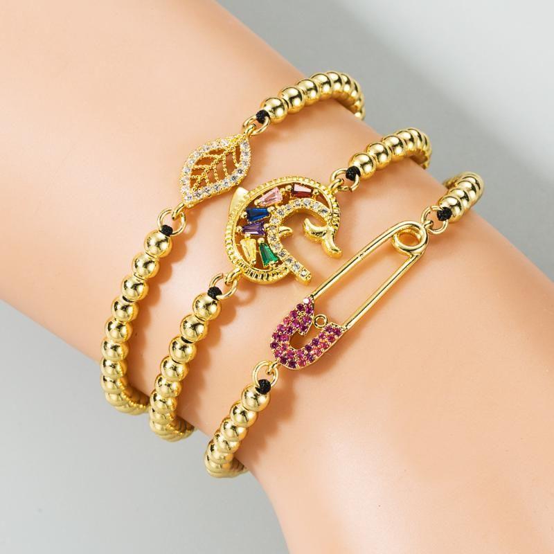 Kadınlar CZ Yaprak Boncuk Bilezikler Ayarlanabilir Altın Dolgulu Mücevher Pride Boncuklu braclets için Gökkuşağı Zirkonya Yunus Charm Bilezik