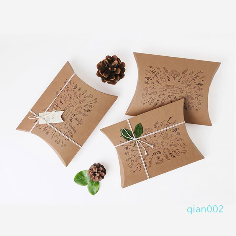 10шт Подушка Shaped коробка конфет Крафт бумаги конфеты коробка DIY фестиваль партии рождественские украшения аксессуары