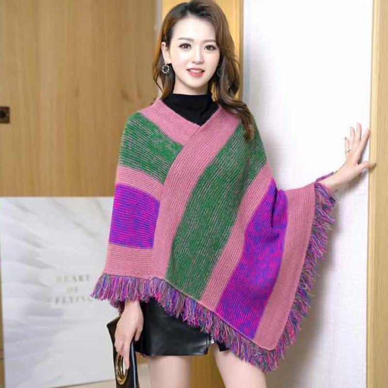 Otoño e invierno viento nacional manto chal de punto jersey de punto suéter de la borla del suéter mujeres mantón largo manto