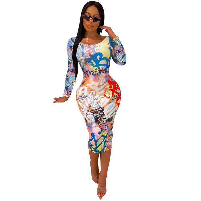 Kadın Graffiti Mektubu Elbiseler Moda Uzun Kollu Skinny Mürettebat Boyun Dişiler Casual Giyim