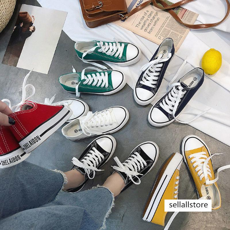 Spring autumn female canvas shoe female college wind flat board shoe recreational middle school student lady