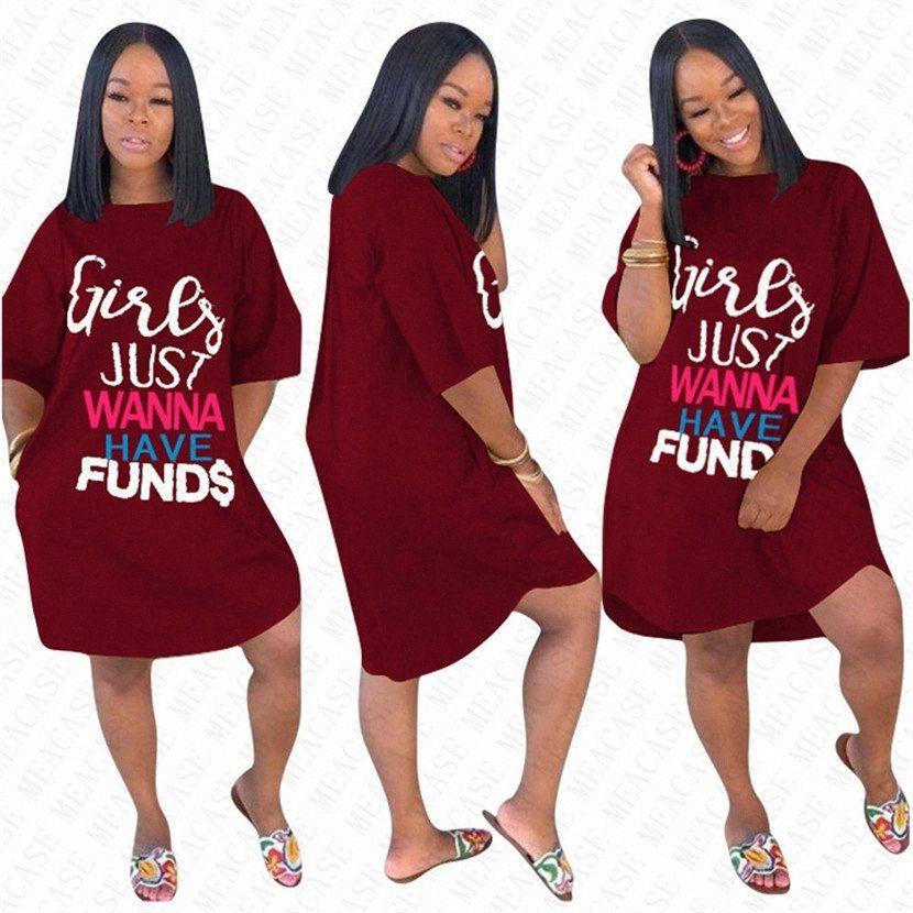 Girls Just Wanna Have FUND Carta Vestido Oversize para Mulheres senhoras de Verão soltos Dresses Sólidos camisa geral Moda Elegent longa T New Eqz8 #