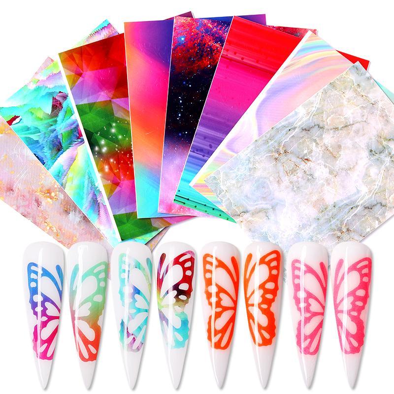 Лист ногтей наклейки серии бабочка Sticke Передача Прекрасные Таблички украшения ногтей аксессуары DIY дизайн