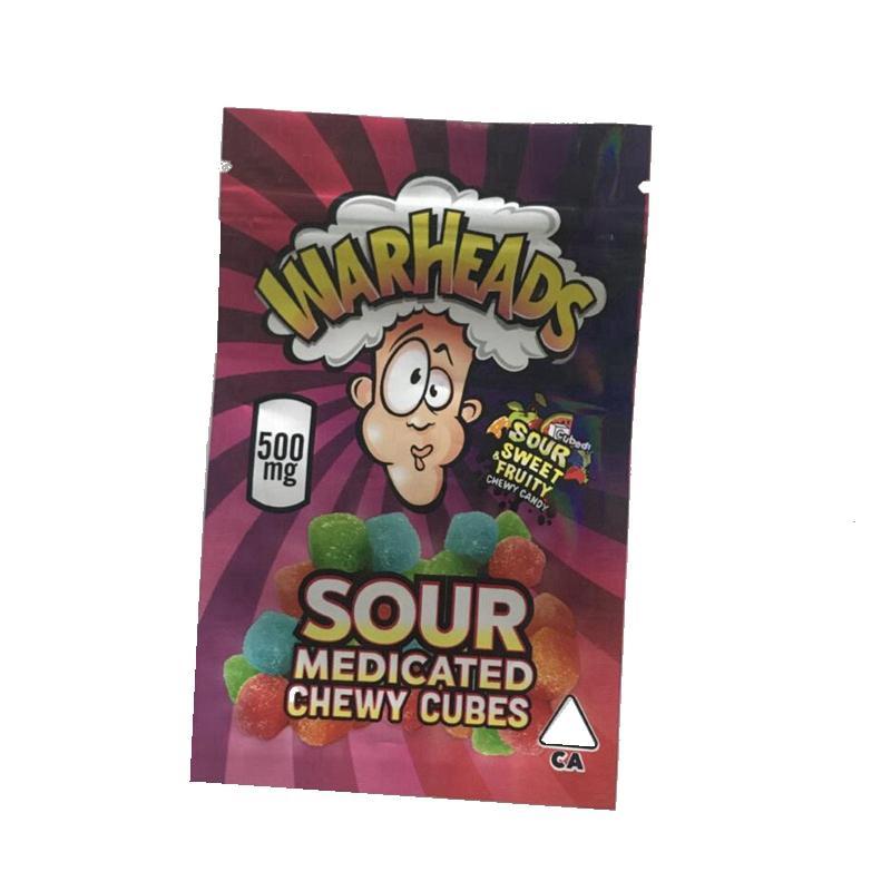 500mg Warheads Bag Borsa più calda Vendita Sour Sweet Sweet Fruttamento Confezione medicata Medy Swy Cubes Edibles Gummies Ziplock Imballaggio BAGGIES 2 tipi Wowheads Sacchetti di pacchetto di caramelle