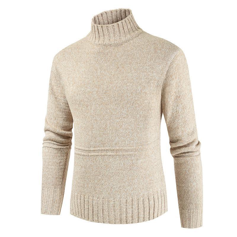 Alta pescoço grosso quente algodão camisola capuz Men Turtleneck Marca Men 2020 Padrão Inverno Malhas Duplo Collar Sweater Y