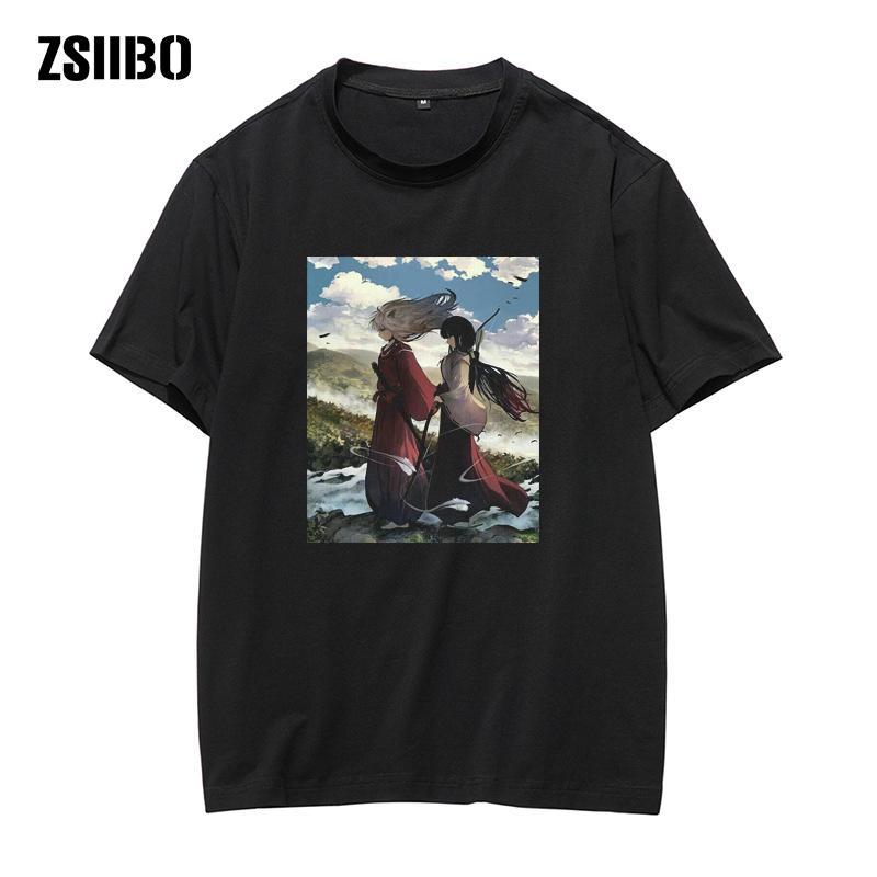 Giapponese casuale Anime Unisex Tops uomini Inuyasha T-shirt manica corta Sesshomaru maglietta voga degli anni '90 homme streetwear stile vintage
