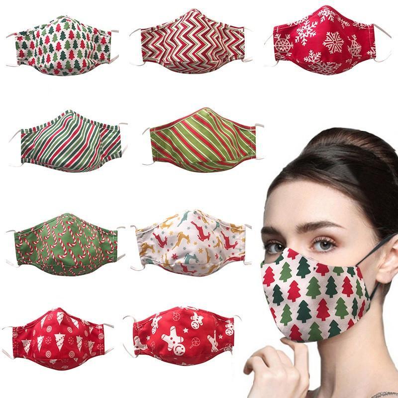 Christmas Mask Xmas хлопчатобумажную ткань печати маска на открытом воздухе маски спорта задействуя дышащий Противопыльный Дизайнерские маски T9I00600
