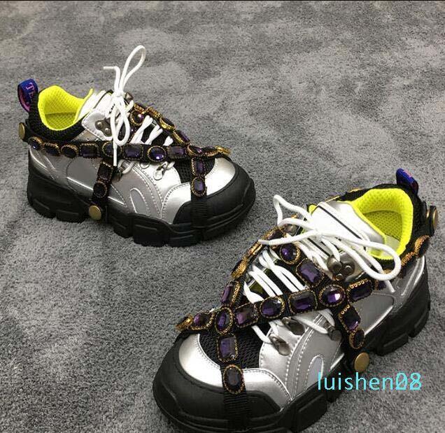 FlashTrek Designer Sneaker com cristais removíveis Mens Lux Designer Shoes Casual Designer de luxo de moda das sapatas das mulheres SneakersAI02 L28