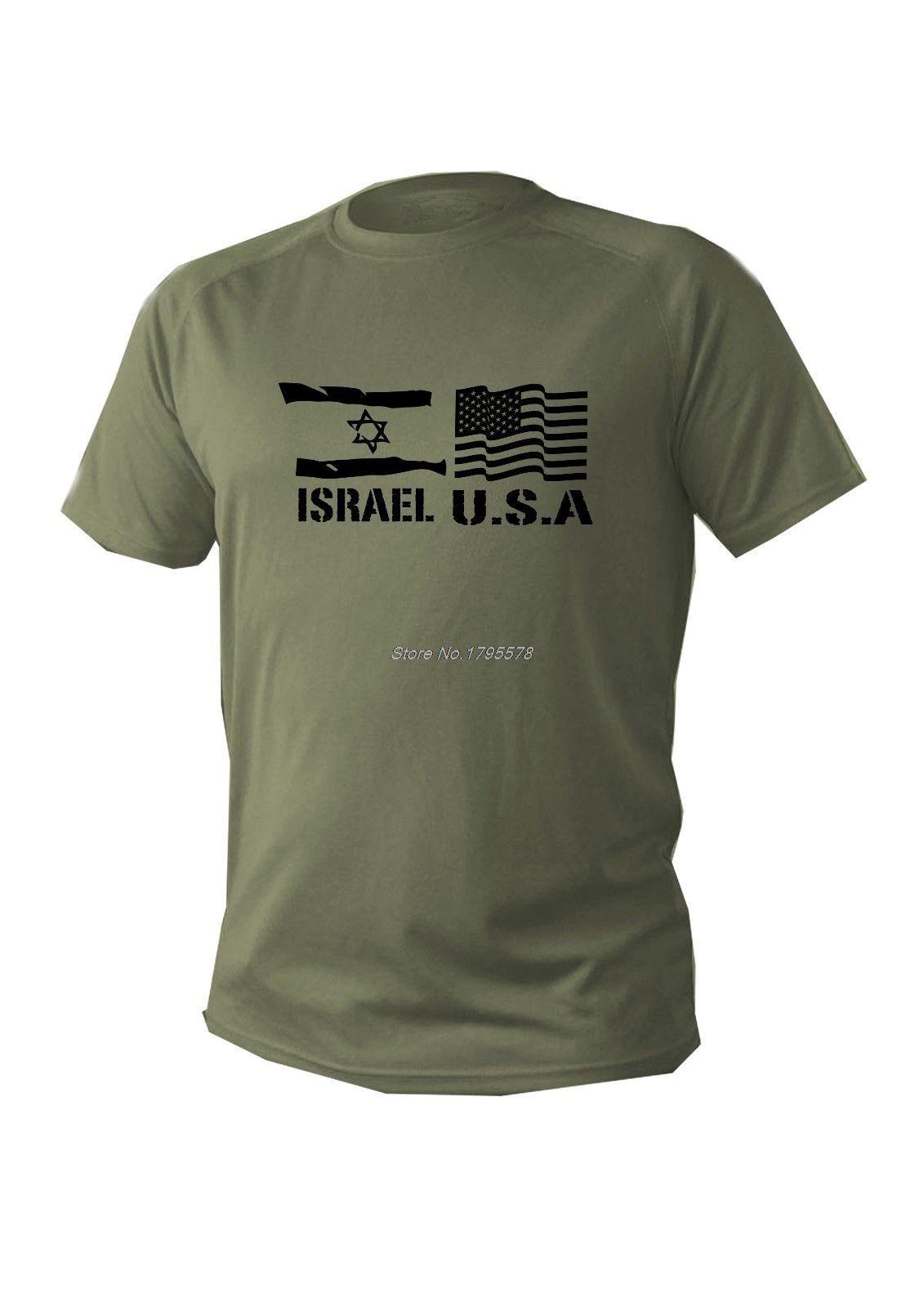 New Verão Men Cotton T-shirt Casual Green Olive Israel Bandeiras dos EUA Militar T do exército camiseta Cool Tees Tops Harajuku Streetwear