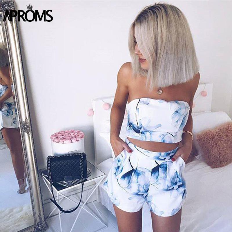 Aproms élégante Imprimer Bleu Floral Deux pièces Ensemble Femmes d'été Streetwear Crop Top et Short taille haute refroidissent Filles Beachwear Tube T200903