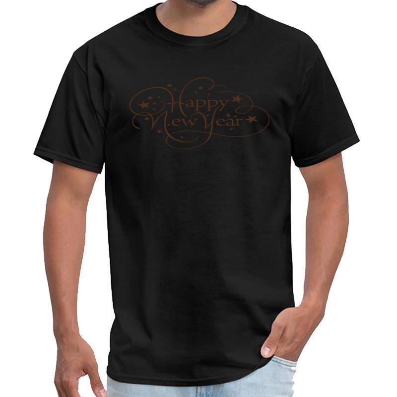 Impreso Feliz Año Nuevo de la vendimia de la camisa de los hombres de las mujeres camiseta más tamaños arriba hiphop s-5XL