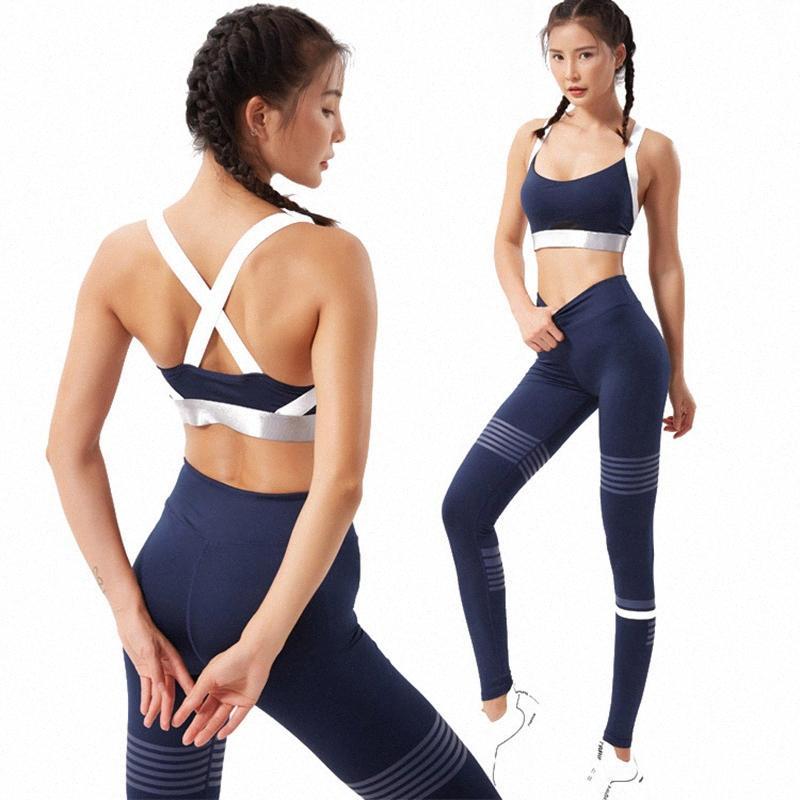 Suits esporte para Mulheres sólida e Vestuário Desporto Seamless Set Yoga Workout Sportswear 2 Piece Correndo Set mangas azul escuro 2rTG #