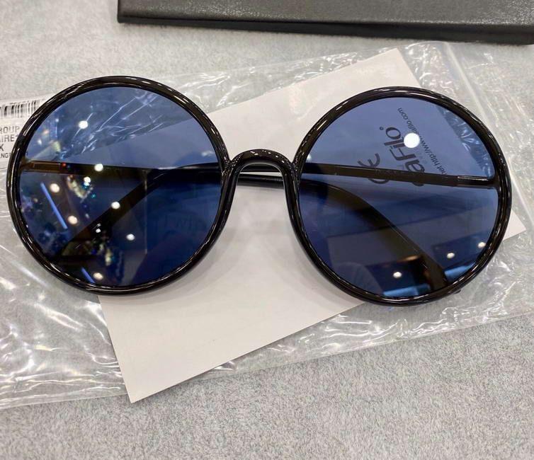 Lunettes de soleil rondes Noir / bleue Sonnenbrille Gafas de Sol Femmes Sunglasses surdimensionnées Tendances rétro avec boîte Fvuuu