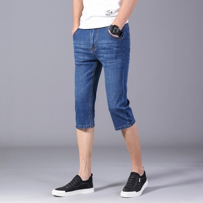 e20AF 2020 verano nueva moda del estilo de mezclilla y juventud cortocircuitos dueño de Capri coreanos pantalones cortos pantalones de los pantalones del juego de los hombres de los hombres delgados