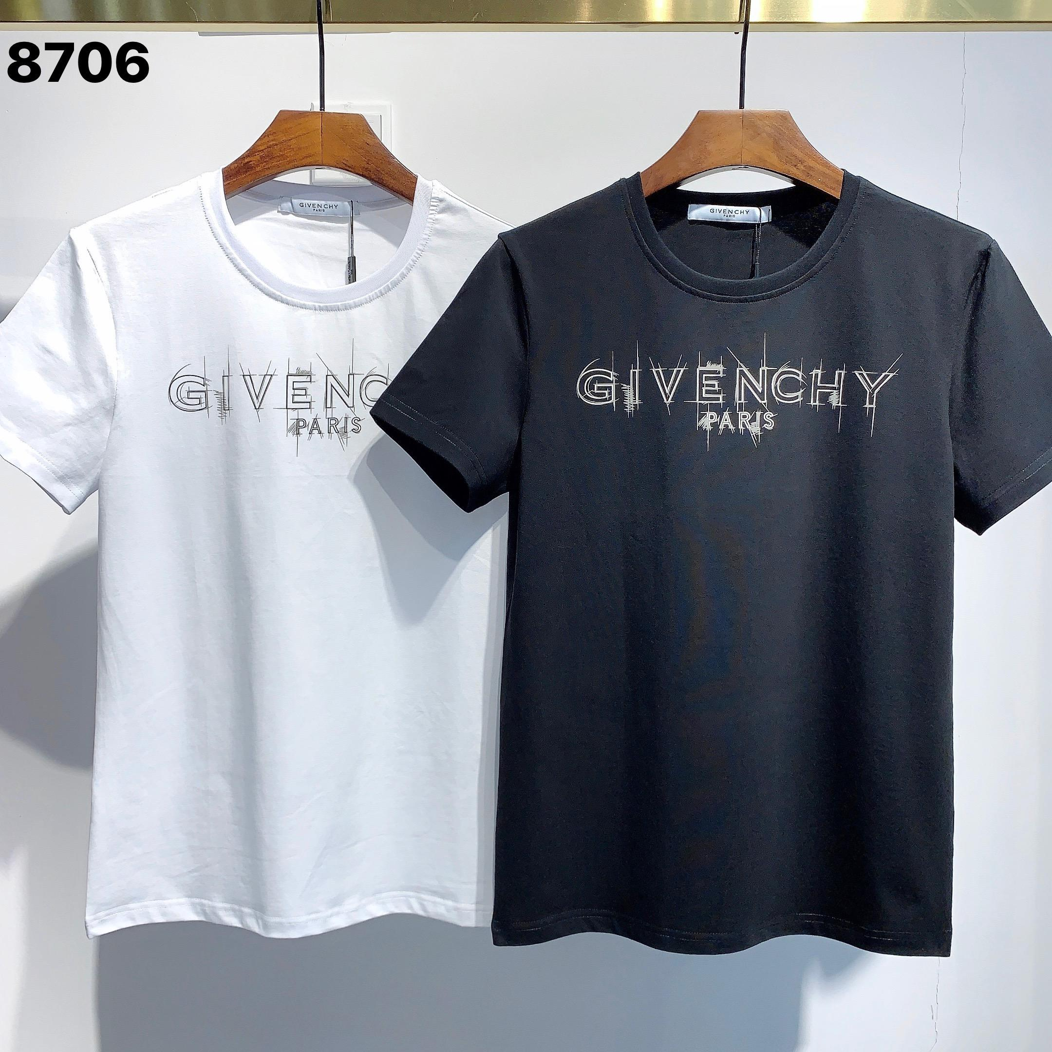 Sıcak Satış GIV Letter 'Tasarımcı Erkekler T Shirt # 001 Yaz Paris Moda 4G Desen' Lüks Stilist Casual Baskı İnce Hip Hop Tees BB