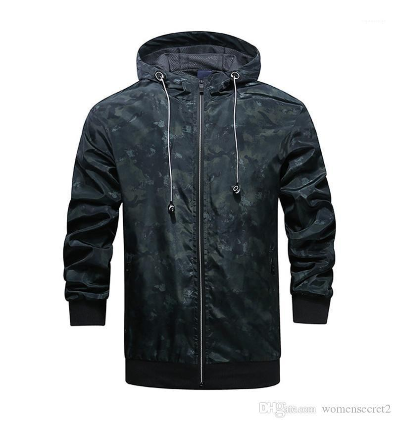 Maniche lunghe uomo cappotti primavera Mens Outwear con la chiusura lampo dello stilista Camouflage Spesso giacche con cappuccio