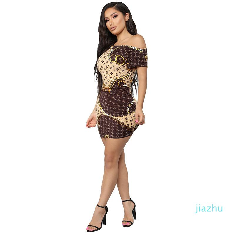 Hot Sale Women's dress fashion summer new European and American casual dress large gold chain printed short skirt Size S-XL