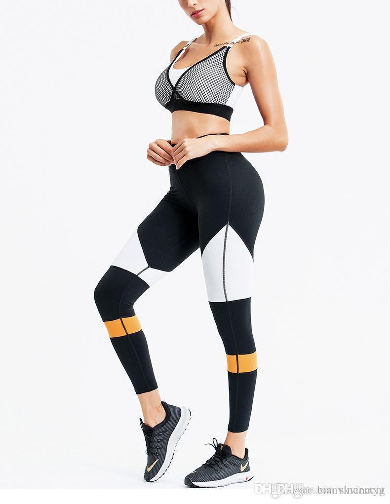 Filles Fitness Set Pieces Vêtements de sport Backless Crop Top Soutien-gorge élastique taille haute Leggings Skinny Slim Survêtement yoga Outfit Fitness