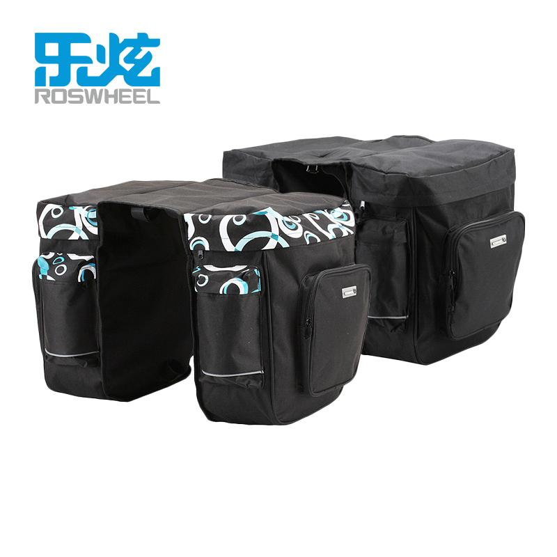 ROSWHEEL Bicycle Carrier Bag 30L Rear Rack Trunk Bike Luggage Back Seat Pannier Two Double Bags Outdoor Cycling Saddle Storage MX200717