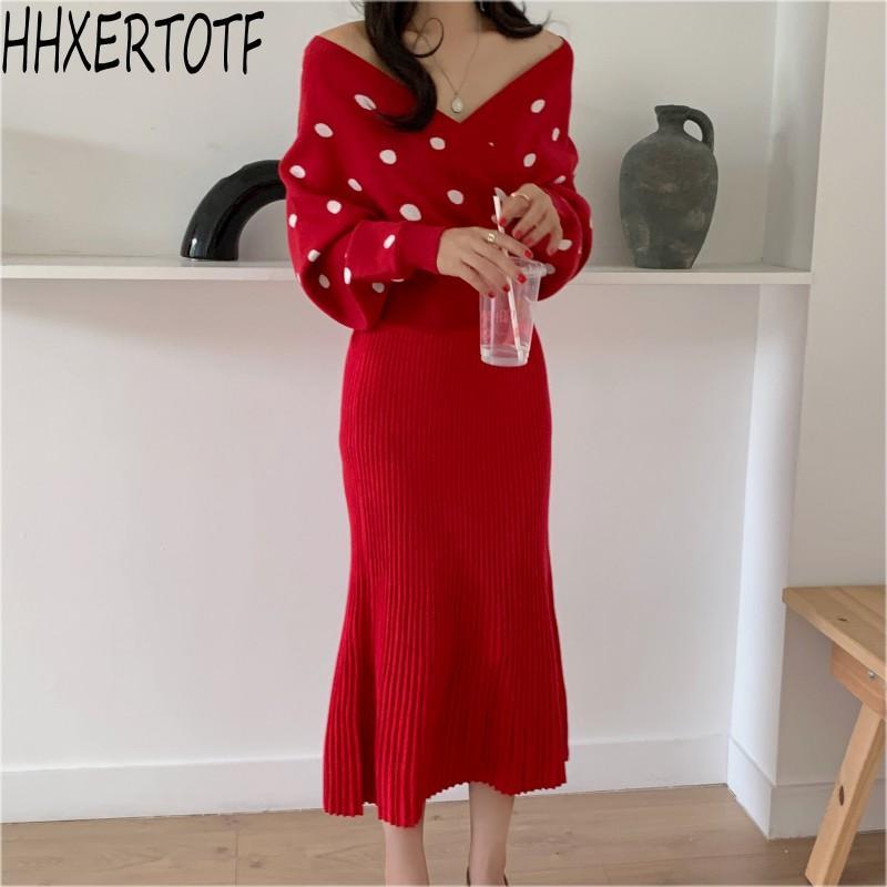 Женские трексуиты осень осень зима мода женщин 2 штуки набор вязаные V шеи пуловер свитер вязаные вершины + юбка костюмы наборы