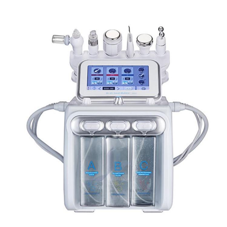 6 1 개 Hydrafacial 박피술 기계 산소 제트 히드라 얼굴 필링 머신 초음파 세정기 RF 페이스 리프트 미세 박피술 기계
