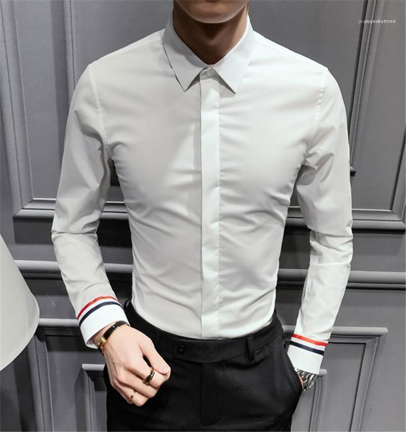 Kleidung Mode Stile Einreiher Homme Tops Frühlings-Designer Herren-Shirt der Männer fester Langarm Revers