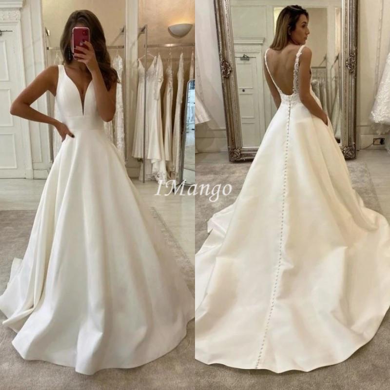 Vestidos de novia elegante satén 2021 con cuello en V de encaje sin espalda Apliques País Boho Vestidos de novia Robe de mariée
