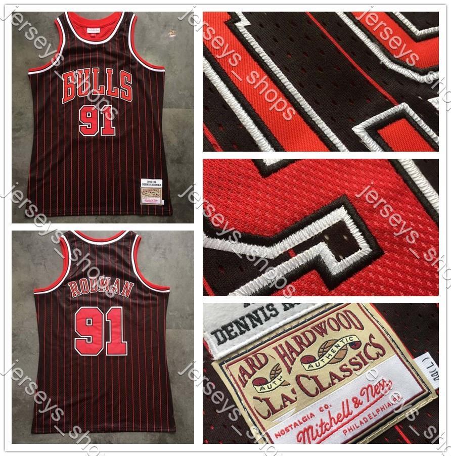 Erkekler basketbol ŞikagoBulls91 Rodman Yoğun Dennis nakış MitchellNess Hardwoods Classics Oyuncu Jersey