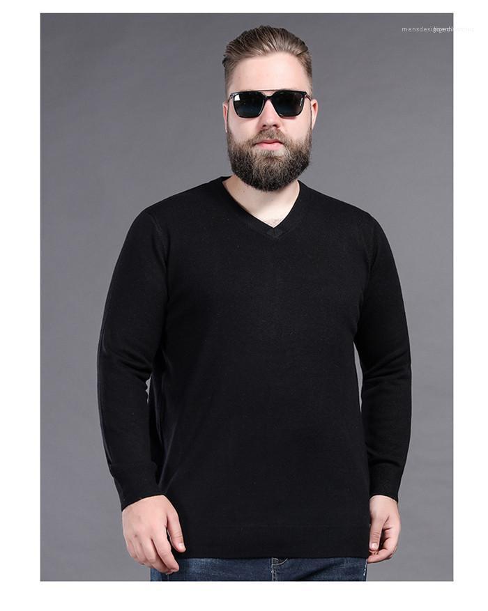Roupa Plus Size Mens Outono Desinger Camisolas Pescoço V manga comprida Homme Estilo cor sólida Moda