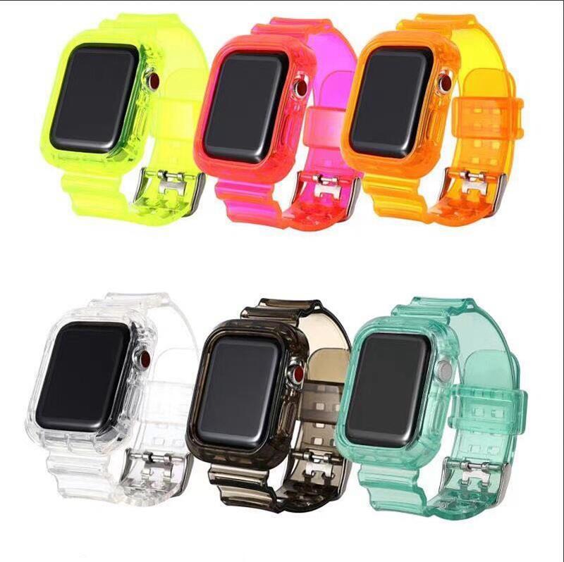 Elma İzle 1 2 3 4 5 38MM 42mm 40MM 44mm için Jelly Temizle Şeffaf TPU Kayış Watch Band + Tampon Kılıf Yedek Kayış