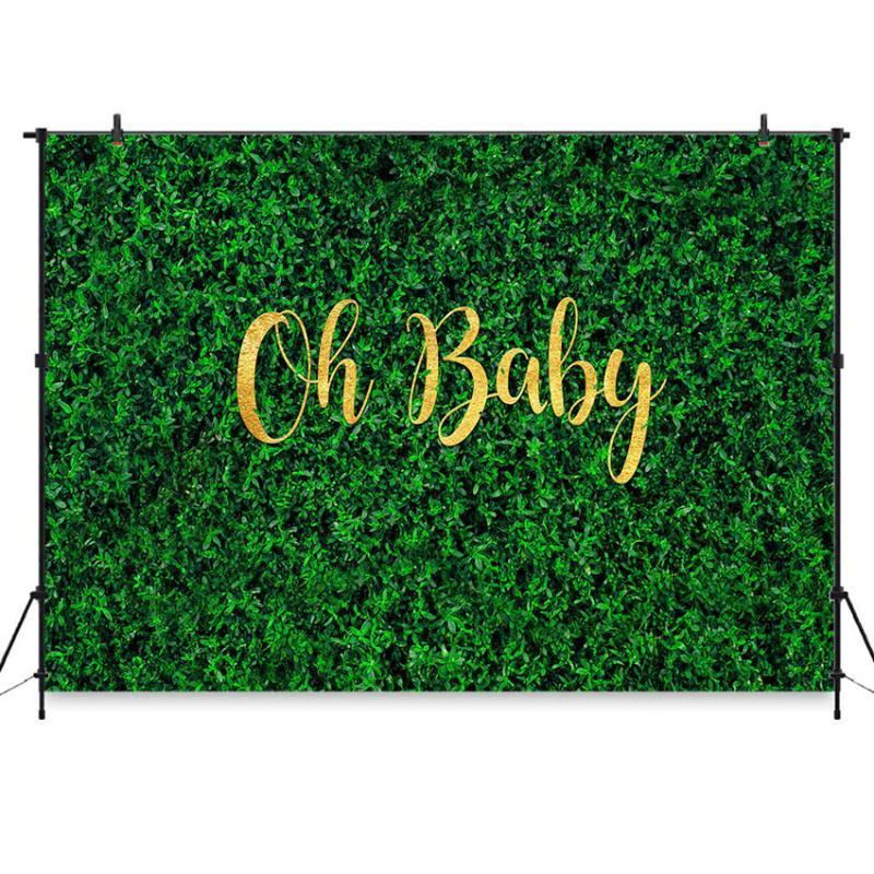 Green Grass Wall Backdrop Oh Baby Birthday Party Baby Shower украшения Фотография фона для фото студии Спринг партии