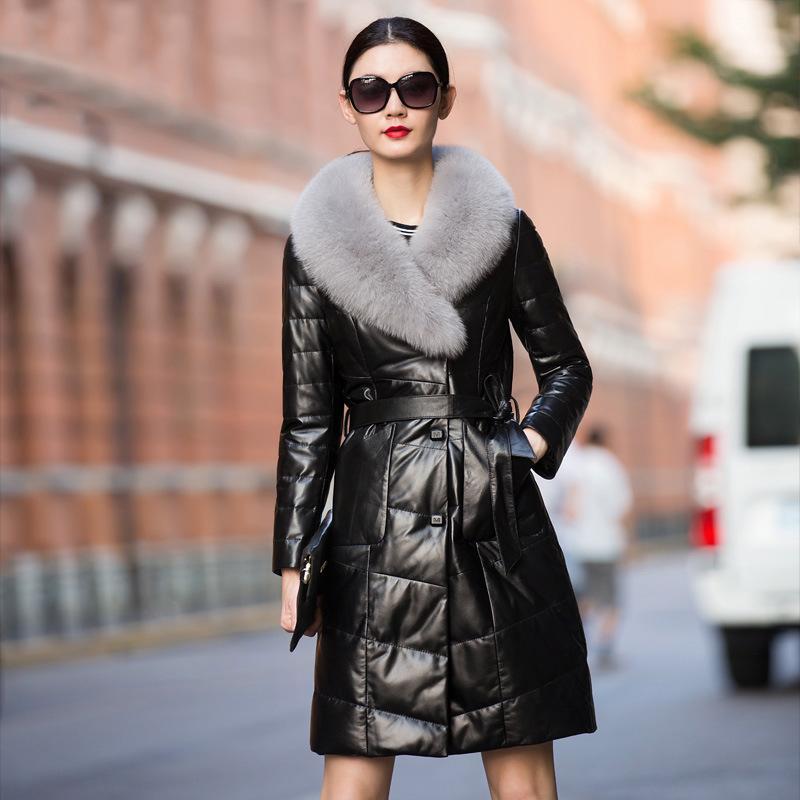 2020 nuevo de la manera del cuero genuino abajo Chaqueta de piel cuello del abrigo con cinturón para las mujeres Outwear Invierno Mujer de piel de oveja Delgado