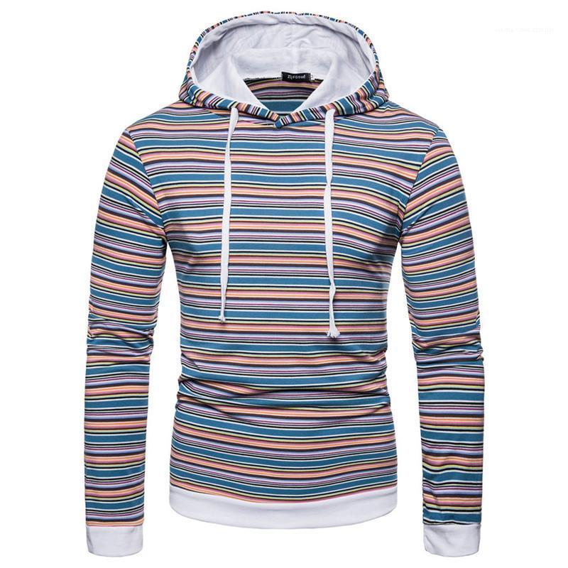 Cappuccio Felpe Maschio Abbigliamento 2020 Designer Pullover Casual Felpe Moda Uomo manica lunga a righe con pannelli Stampa