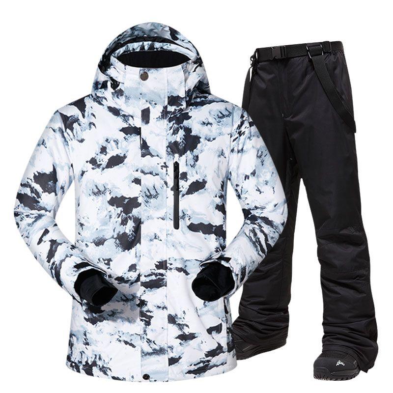 Лыжный костюм Мужчины Зима Теплый ветрозащитный Водонепроницаемый Спорт на открытом воздухе Снег куртки и брюки Горячие Лыжное снаряжение сноуборд куртка Мужчины Марка