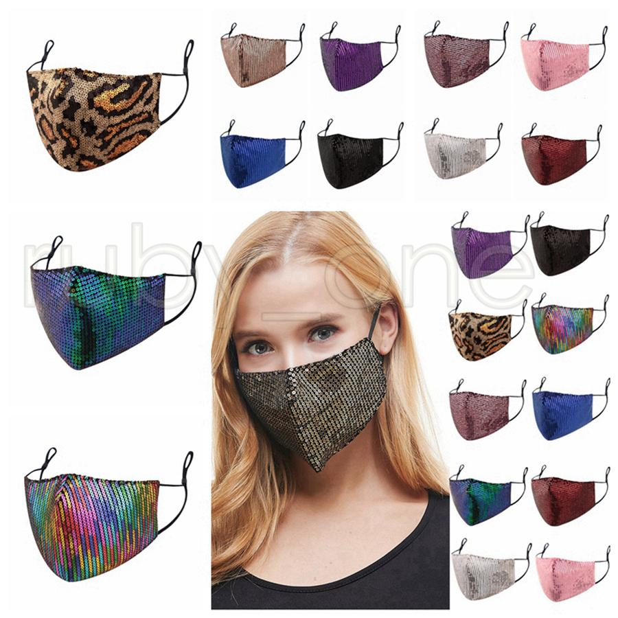 Moda Bling Bling leopardo di paillettes maschera di protezione antipolvere Bocca Maschere Designer lavabile Le donne devono affrontare riutilizzabile Maschera RRA3434