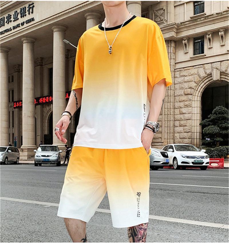 Lettre Mens Imprimer Été Survêtements Gradient Couleur Hommes Deux Pièces Designer Ensembles Hauts à manches courtes courtes Pantalons Costumes Casual